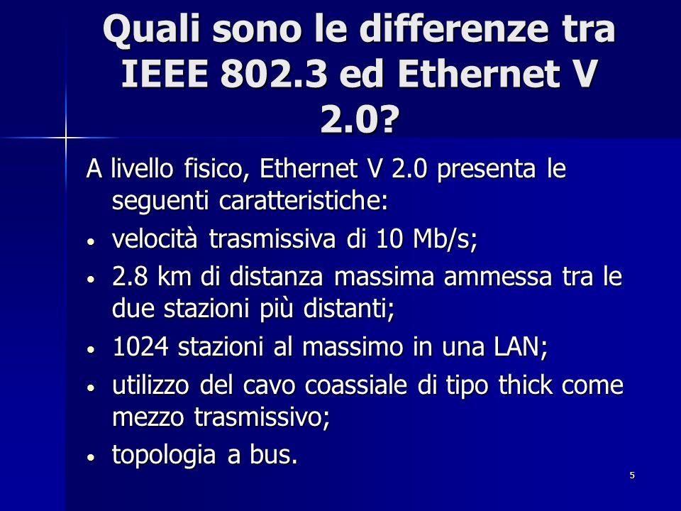 5 Quali sono le differenze tra IEEE 802.3 ed Ethernet V 2.0? A livello fisico, Ethernet V 2.0 presenta le seguenti caratteristiche: velocità trasmissi