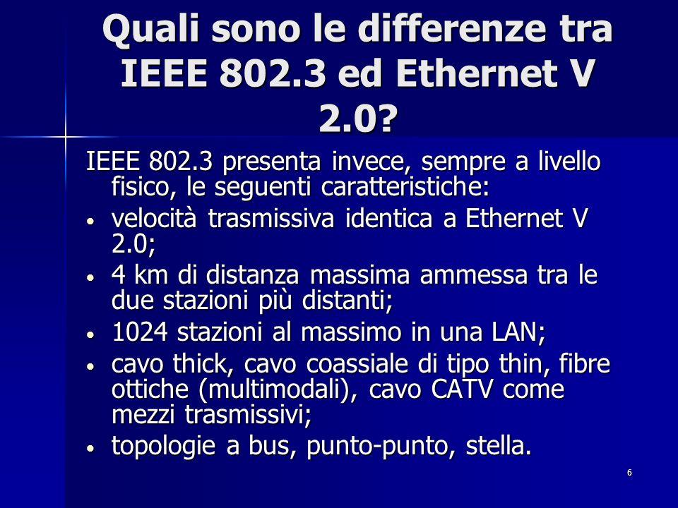 6 Quali sono le differenze tra IEEE 802.3 ed Ethernet V 2.0? IEEE 802.3 presenta invece, sempre a livello fisico, le seguenti caratteristiche: velocit