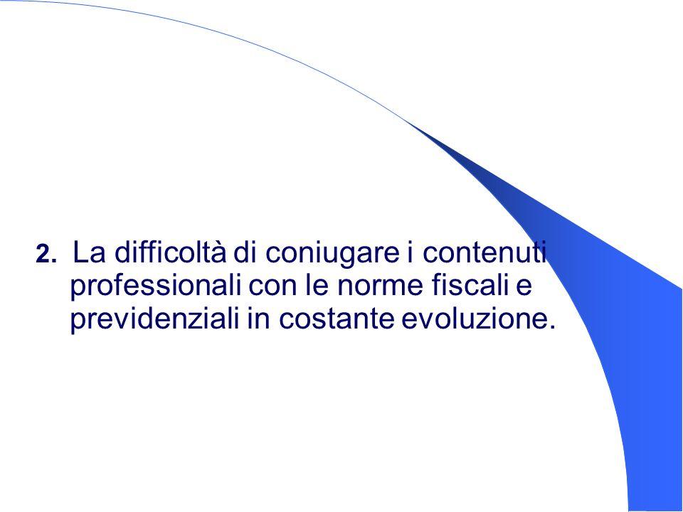 2. La difficoltà di coniugare i contenuti professionali con le norme fiscali e previdenziali in costante evoluzione.