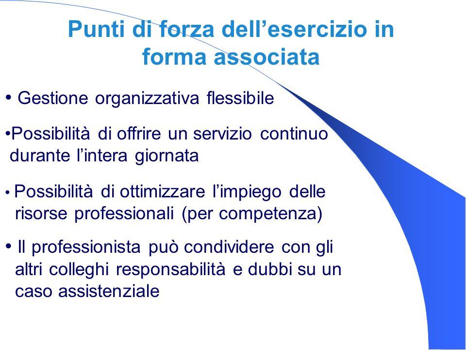Punti di forza dellesercizio in forma associata Gestione organizzativa flessibile Il professionista può condividere con gli altri colleghi responsabil