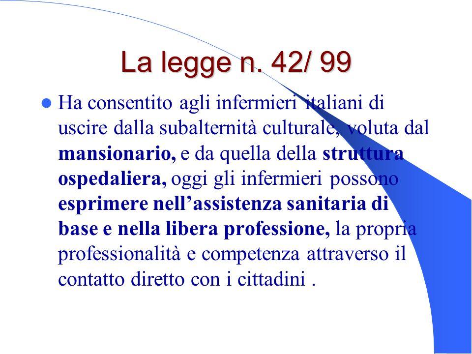 La legge n. 42/ 99 Ha consentito agli infermieri italiani di uscire dalla subalternità culturale, voluta dal mansionario, e da quella della struttura
