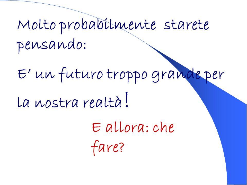 Molto probabilmente starete pensando: E un futuro troppo grande per la nostra realtà ! E allora: che fare?