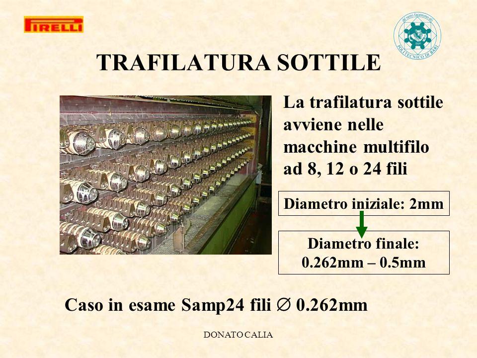 DONATO CALIA TRAFILATURA SOTTILE La trafilatura sottile avviene nelle macchine multifilo ad 8, 12 o 24 fili Diametro iniziale: 2mm Diametro finale: 0.