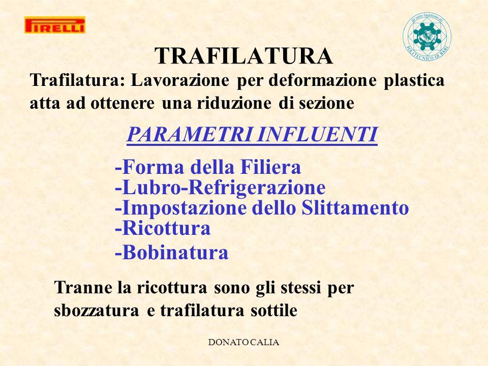DONATO CALIA TRAFILATURA Tranne la ricottura sono gli stessi per sbozzatura e trafilatura sottile Trafilatura: Lavorazione per deformazione plastica a