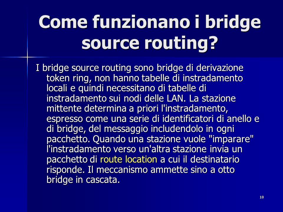 10 Come funzionano i bridge source routing? I bridge source routing sono bridge di derivazione token ring, non hanno tabelle di instradamento locali e