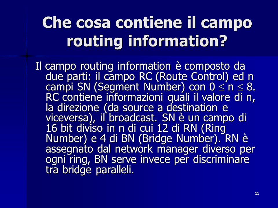 11 Che cosa contiene il campo routing information? Il campo routing information è composto da due parti: il campo RC (Route Control) ed n campi SN (Se