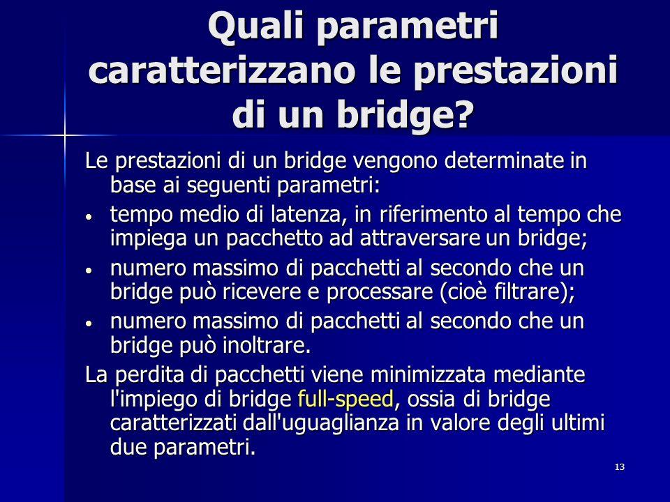 13 Quali parametri caratterizzano le prestazioni di un bridge? Le prestazioni di un bridge vengono determinate in base ai seguenti parametri: tempo me