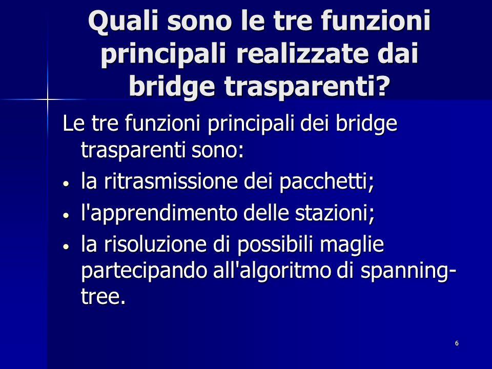 6 Quali sono le tre funzioni principali realizzate dai bridge trasparenti? Le tre funzioni principali dei bridge trasparenti sono: la ritrasmissione d