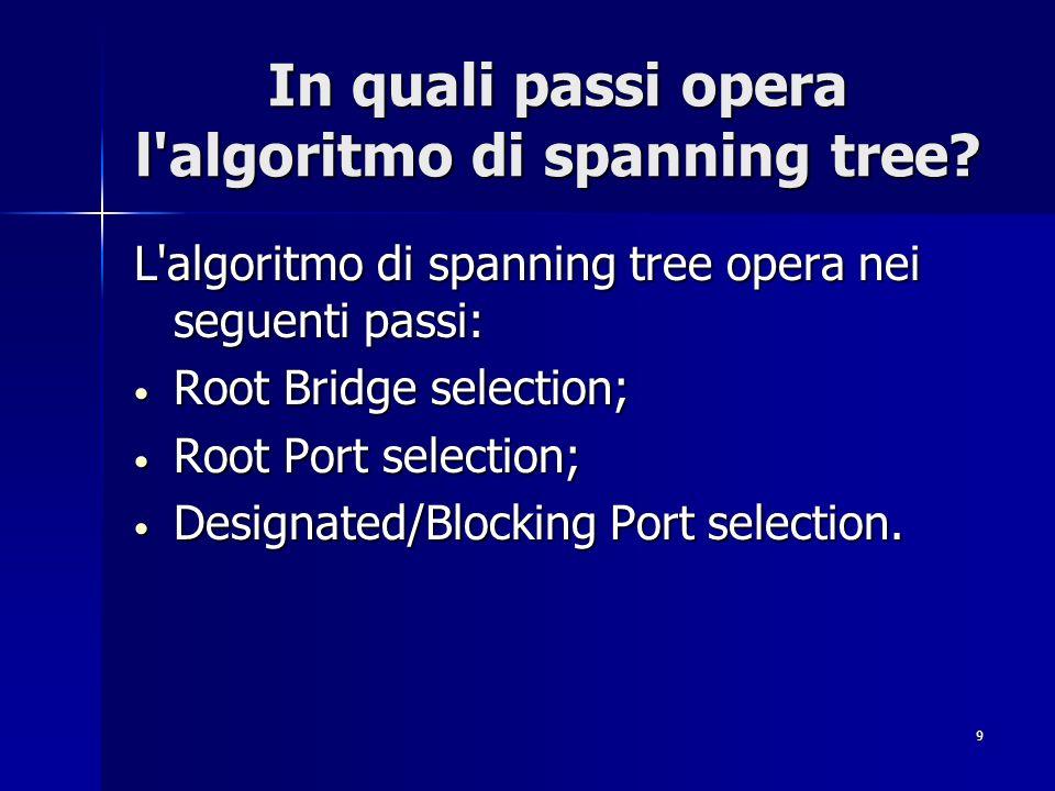 9 In quali passi opera l'algoritmo di spanning tree? L'algoritmo di spanning tree opera nei seguenti passi: Root Bridge selection; Root Bridge selecti