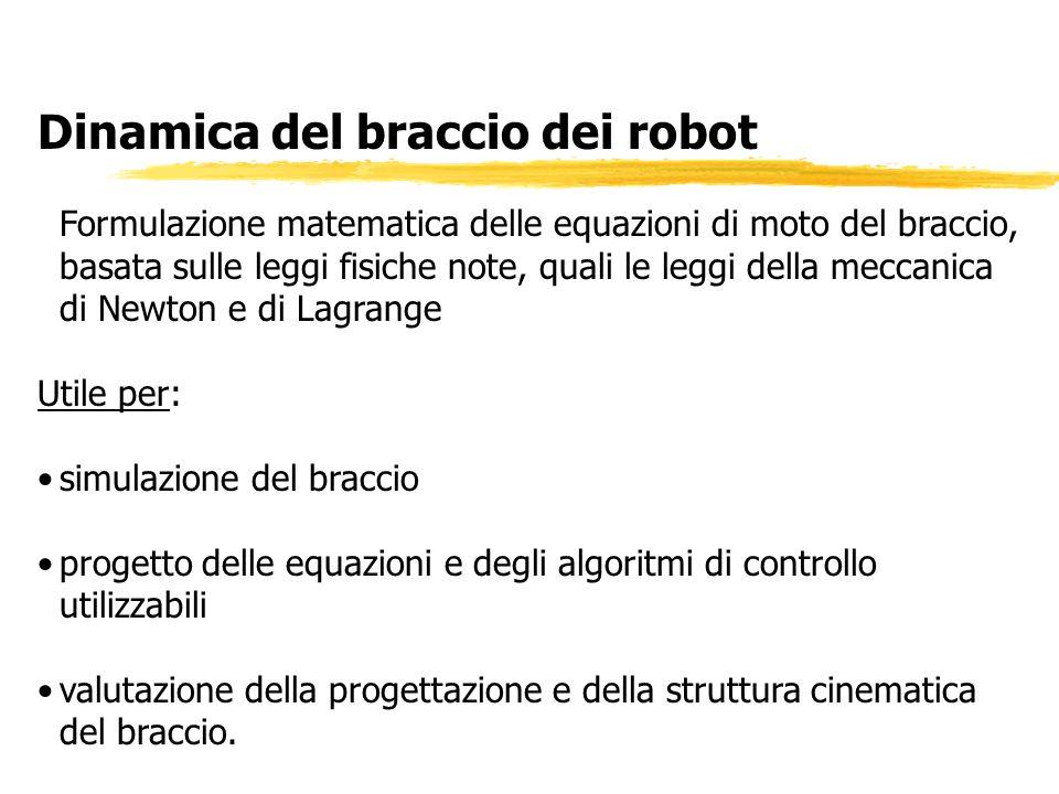 Dinamica del braccio dei robot Formulazione matematica delle equazioni di moto del braccio, basata sulle leggi fisiche note, quali le leggi della mecc