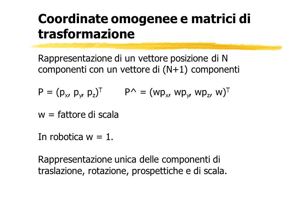 Coordinate omogenee e matrici di trasformazione Rappresentazione di un vettore posizione di N componenti con un vettore di (N+1) componenti P = (p x,