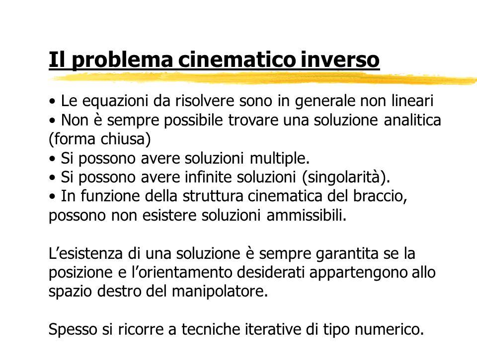Il problema cinematico inverso Le equazioni da risolvere sono in generale non lineari Non è sempre possibile trovare una soluzione analitica (forma ch