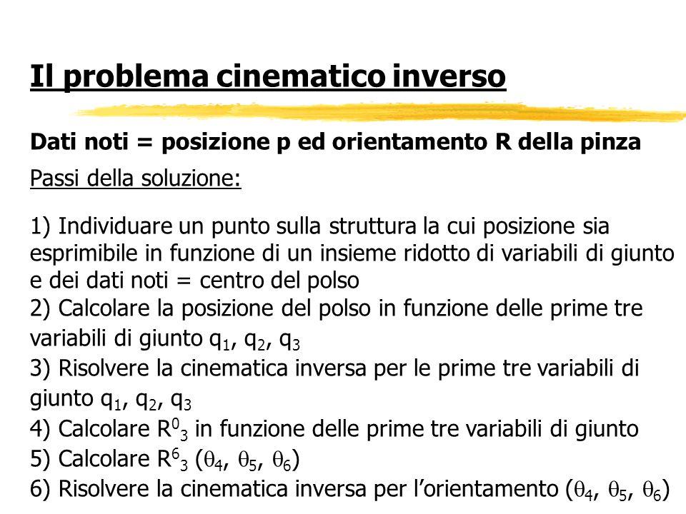 Il problema cinematico inverso Dati noti = posizione p ed orientamento R della pinza Passi della soluzione: 1) Individuare un punto sulla struttura la