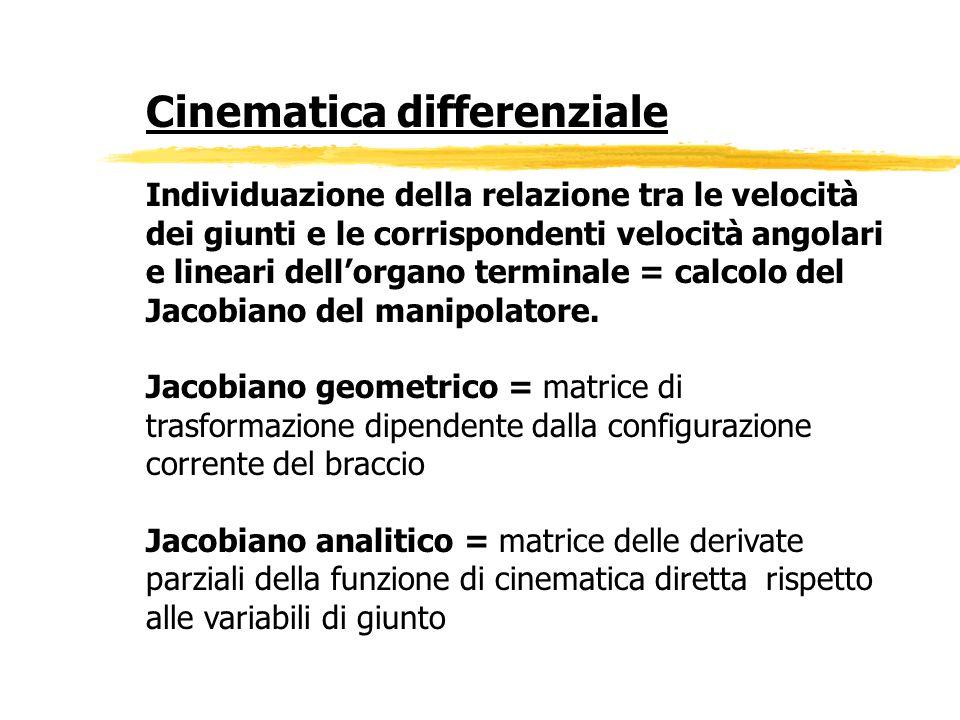 Cinematica differenziale Individuazione della relazione tra le velocità dei giunti e le corrispondenti velocità angolari e lineari dellorgano terminal