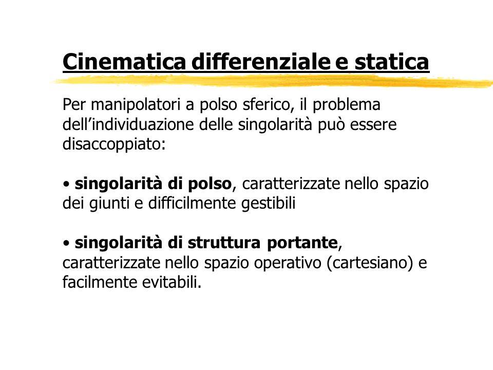 Cinematica differenziale e statica Per manipolatori a polso sferico, il problema dellindividuazione delle singolarità può essere disaccoppiato: singol