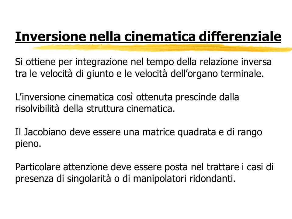 Inversione nella cinematica differenziale Si ottiene per integrazione nel tempo della relazione inversa tra le velocità di giunto e le velocità dellor