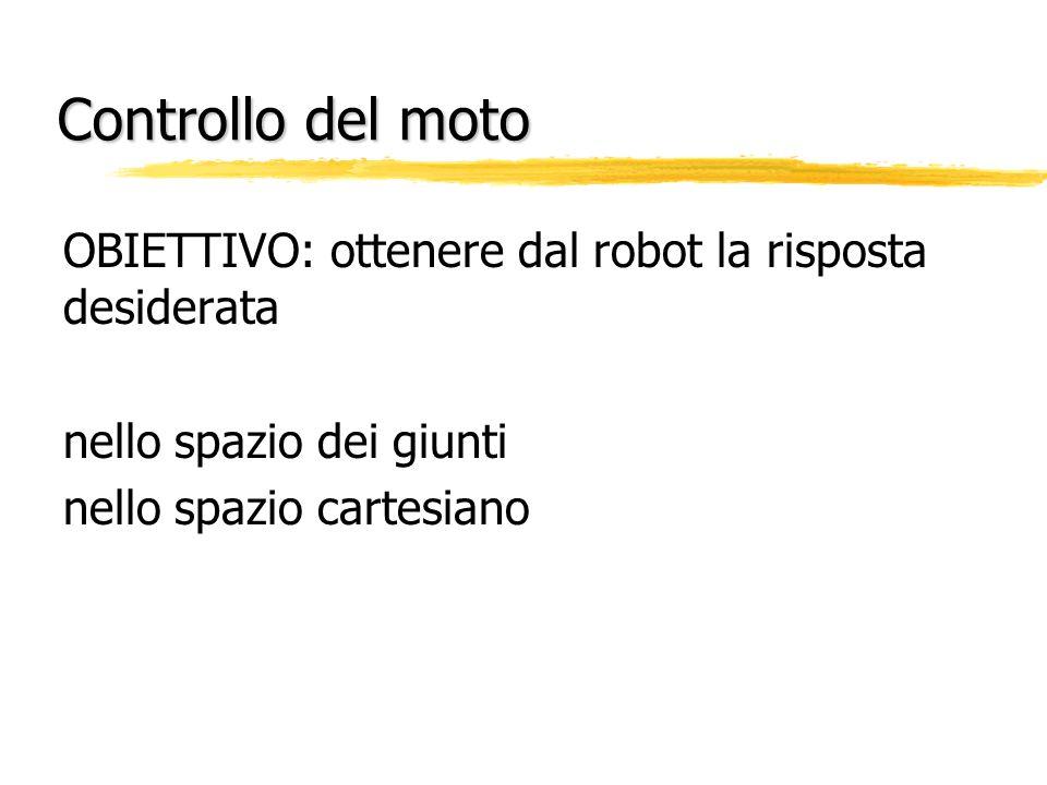 Controllo del moto OBIETTIVO: ottenere dal robot la risposta desiderata nello spazio dei giunti nello spazio cartesiano