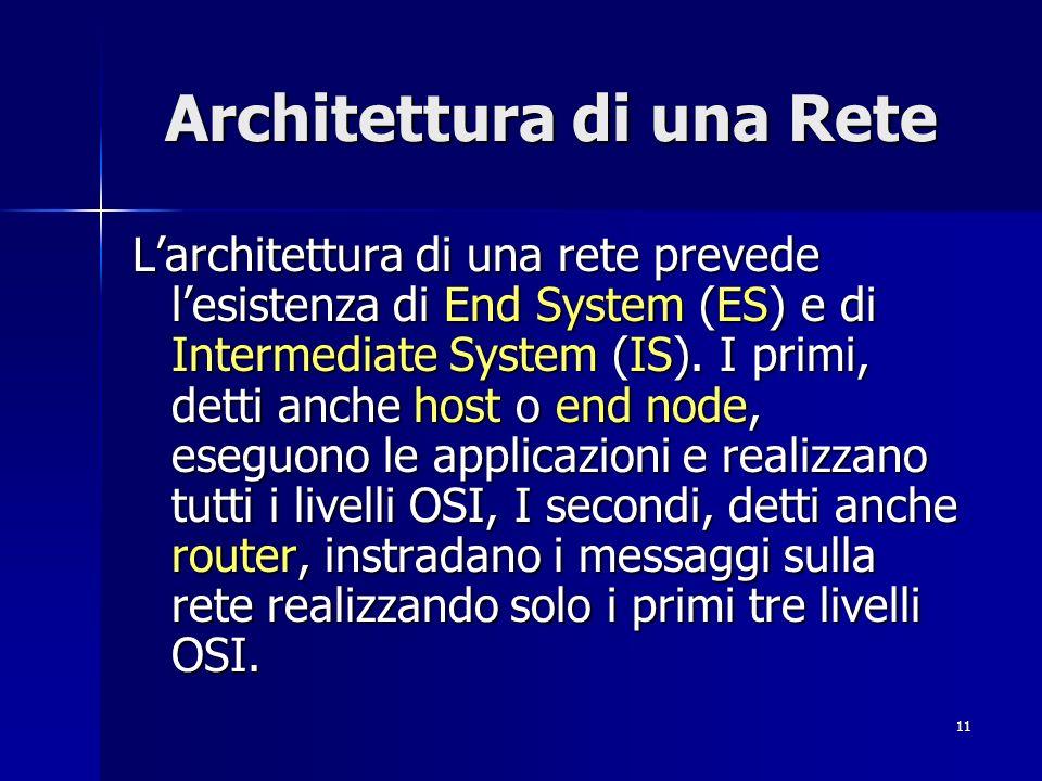 11 Architettura di una Rete Larchitettura di una rete prevede lesistenza di End System (ES) e di Intermediate System (IS).