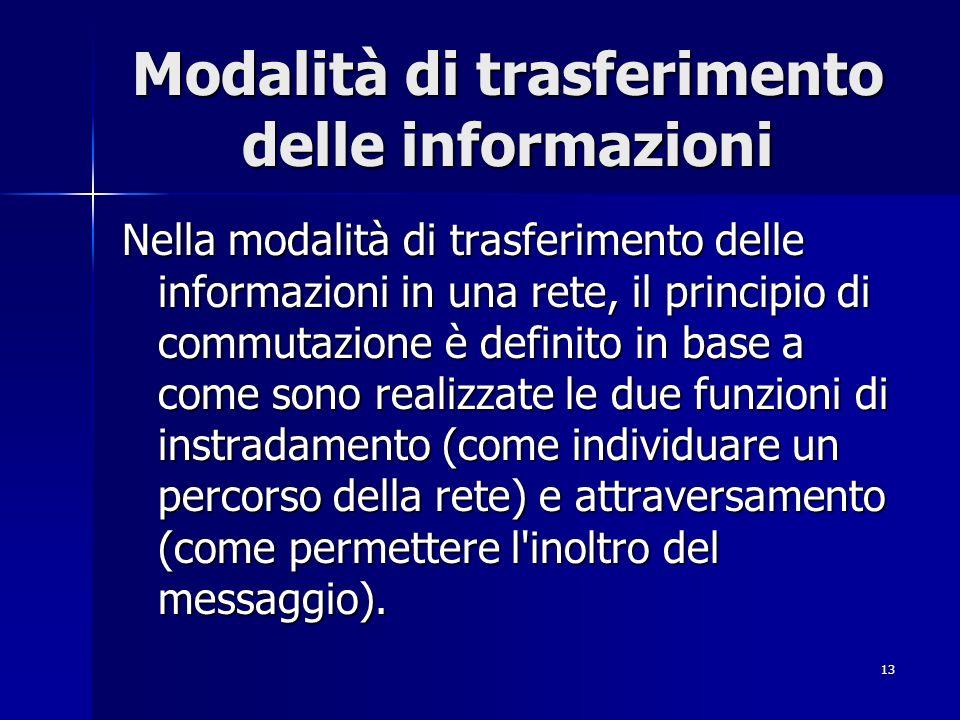 13 Modalità di trasferimento delle informazioni Nella modalità di trasferimento delle informazioni in una rete, il principio di commutazione è definito in base a come sono realizzate le due funzioni di instradamento (come individuare un percorso della rete) e attraversamento (come permettere l inoltro del messaggio).