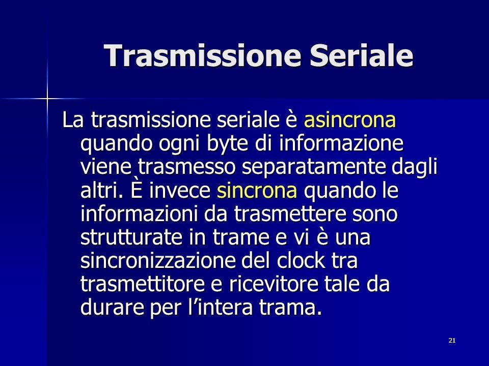 21 Trasmissione Seriale La trasmissione seriale è asincrona quando ogni byte di informazione viene trasmesso separatamente dagli altri.