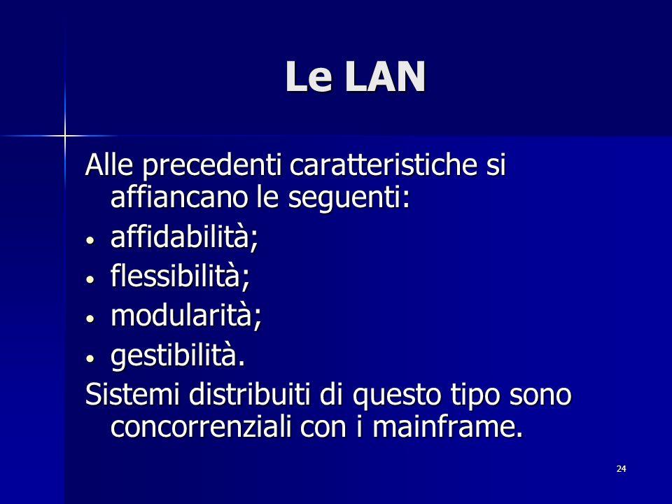 24 Le LAN Alle precedenti caratteristiche si affiancano le seguenti: affidabilità; affidabilità; flessibilità; flessibilità; modularità; modularità; gestibilità.