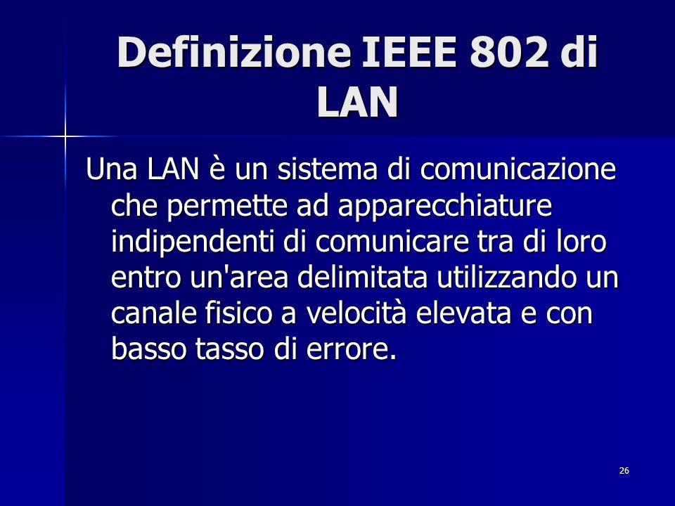 26 Definizione IEEE 802 di LAN Una LAN è un sistema di comunicazione che permette ad apparecchiature indipendenti di comunicare tra di loro entro un area delimitata utilizzando un canale fisico a velocità elevata e con basso tasso di errore.