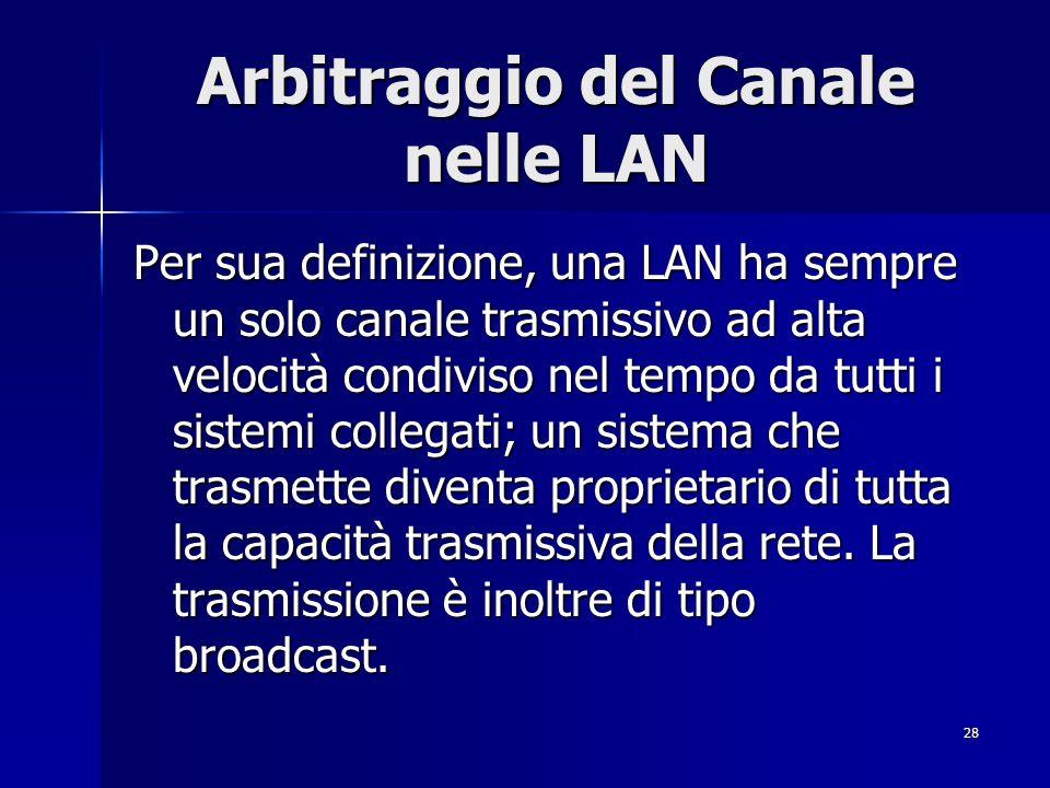 28 Arbitraggio del Canale nelle LAN Per sua definizione, una LAN ha sempre un solo canale trasmissivo ad alta velocità condiviso nel tempo da tutti i sistemi collegati; un sistema che trasmette diventa proprietario di tutta la capacità trasmissiva della rete.