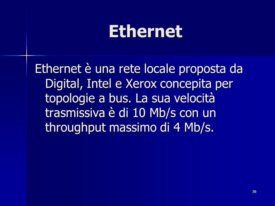 30 Ethernet Ethernet è una rete locale proposta da Digital, Intel e Xerox concepita per topologie a bus.