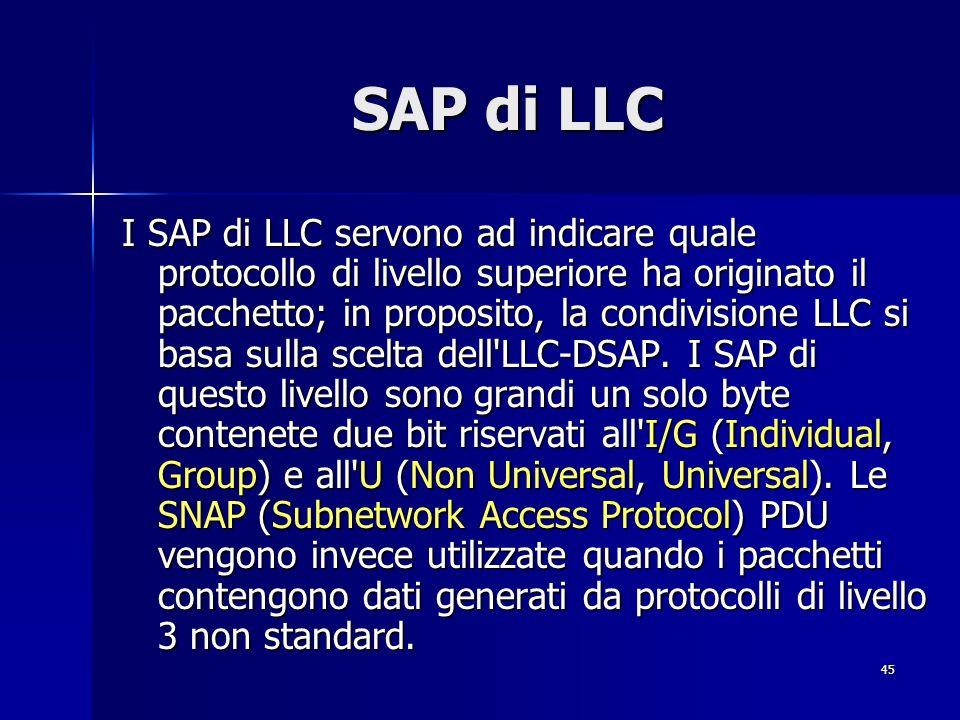 45 SAP di LLC I SAP di LLC servono ad indicare quale protocollo di livello superiore ha originato il pacchetto; in proposito, la condivisione LLC si basa sulla scelta dell LLC-DSAP.