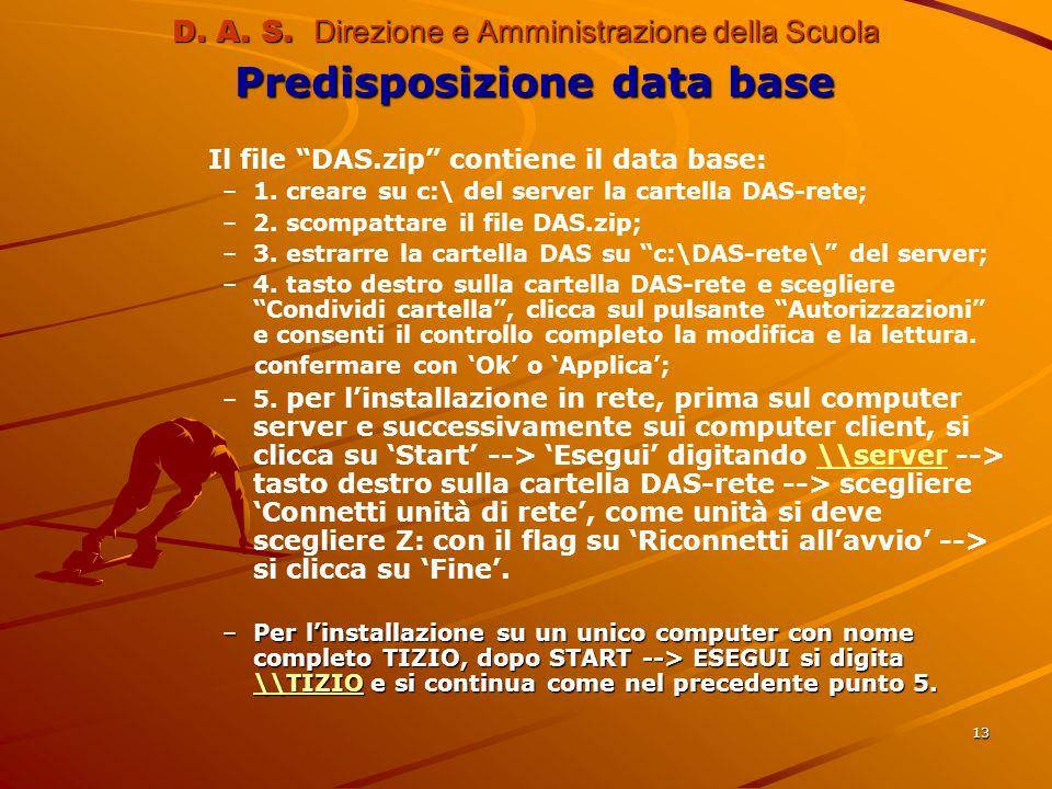 13 D. A. S. Direzione e Amministrazione della Scuola Predisposizione data base Il file DAS.zip contiene il data base: – –1. creare su c:\ del server l