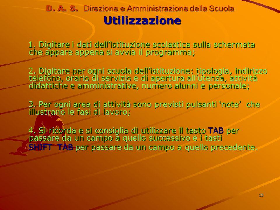 15 D. A. S. Direzione e Amministrazione della Scuola Utilizzazione 1. Digitare i dati dellistituzione scolastica sulla schermata che appare appena si