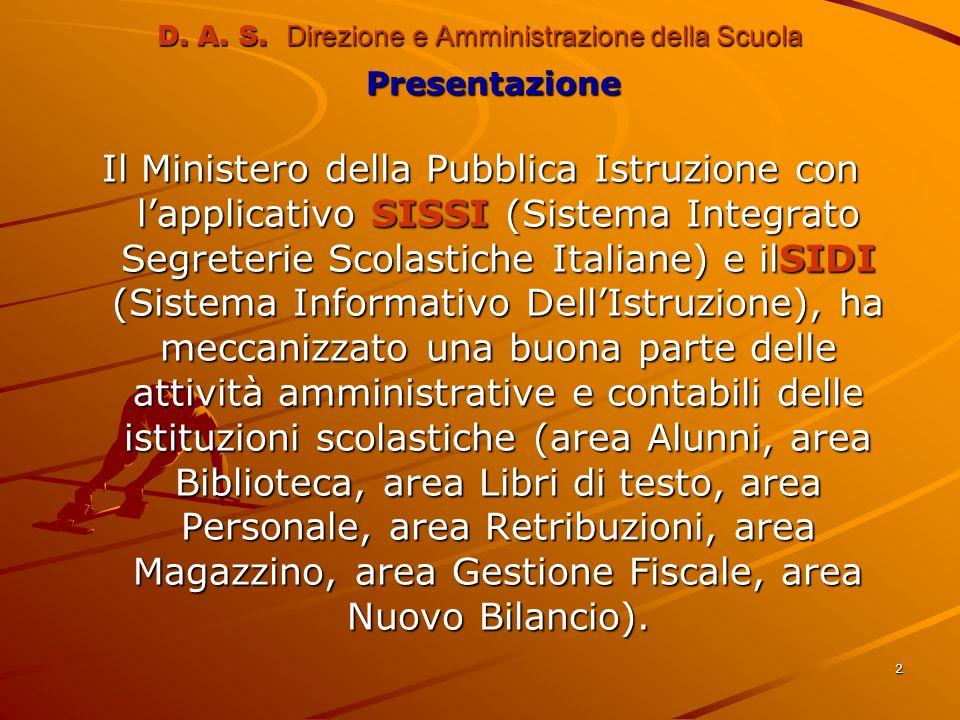 2 D. A. S. Direzione e Amministrazione della Scuola Presentazione Presentazione Il Ministero della Pubblica Istruzione con lapplicativo SISSI (Sistema