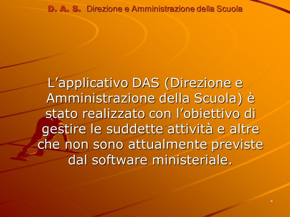 4 D. A. S. Direzione e Amministrazione della Scuola Lapplicativo DAS (Direzione e Amministrazione della Scuola) è stato realizzato con lobiettivo di g