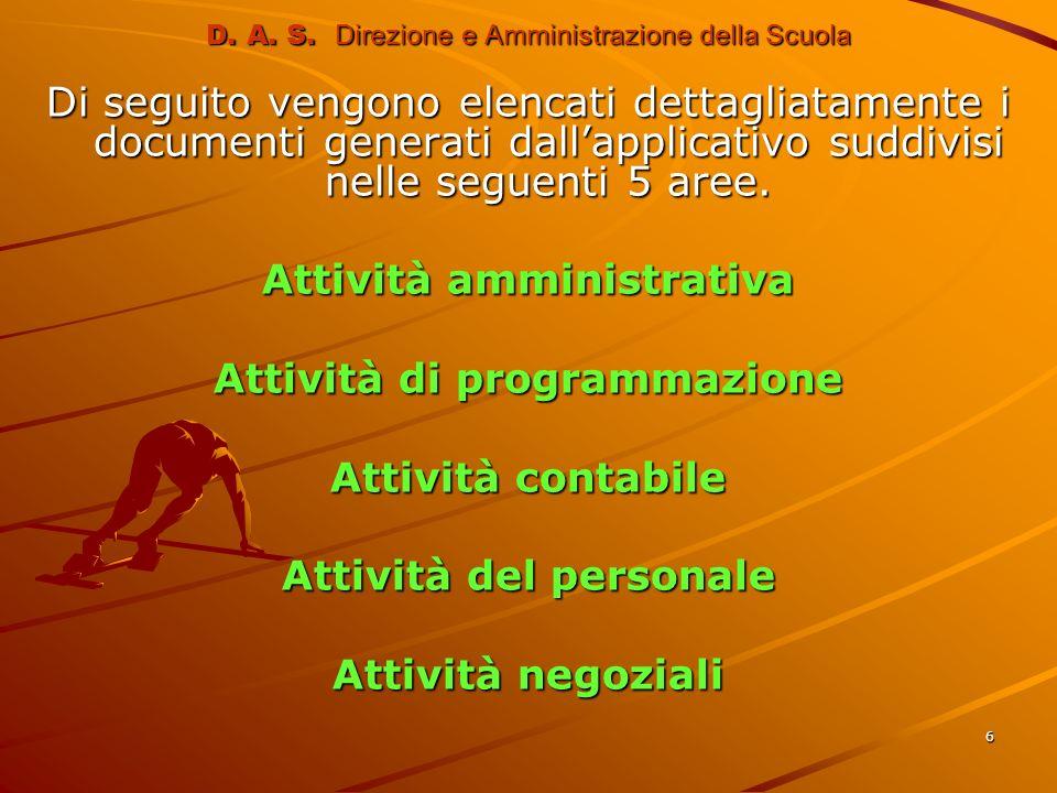 6 Di seguito vengono elencati dettagliatamente i documenti generati dallapplicativo suddivisi nelle seguenti 5 aree. Attività amministrativa Attività