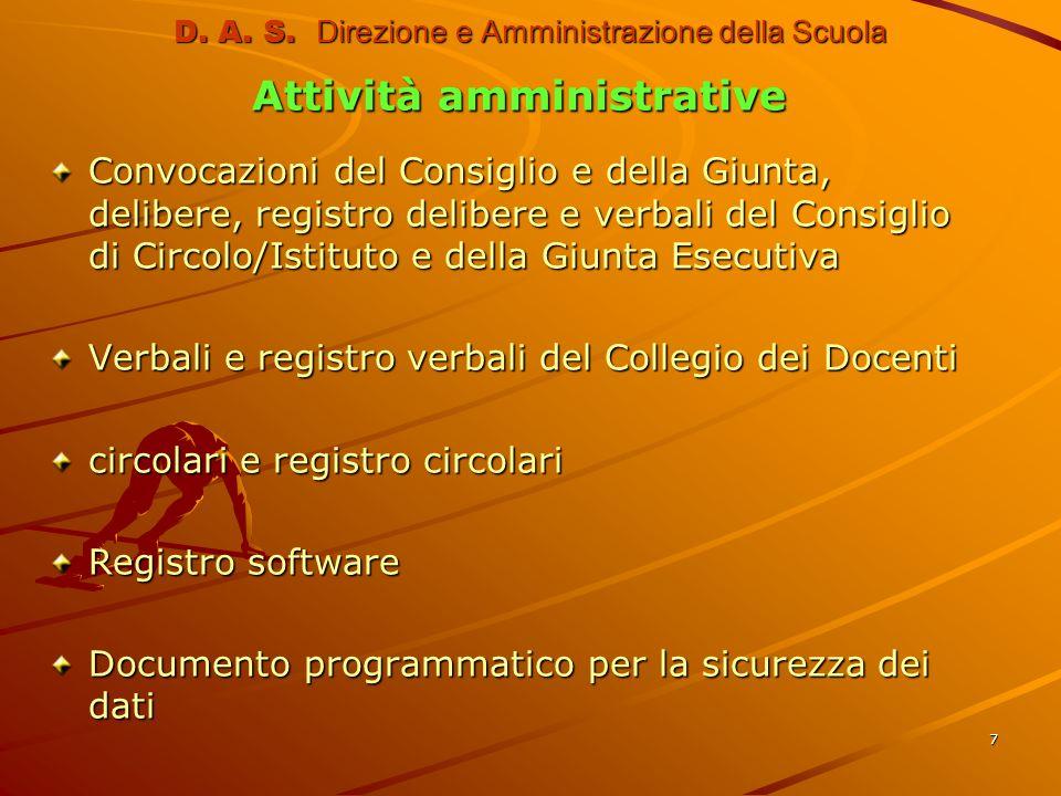 7 Attività amministrative Convocazioni del Consiglio e della Giunta, delibere, registro delibere e verbali del Consiglio di Circolo/Istituto e della G