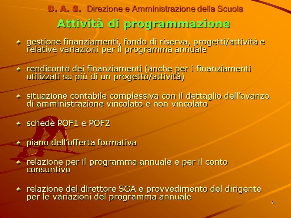8 D. A. S. Direzione e Amministrazione della Scuola Attività di programmazione gestione finanziamenti, fondo di riserva, progetti/attività e relative