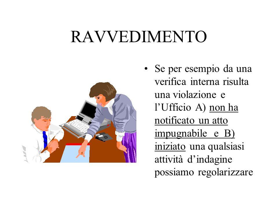 RAVVEDIMENTO Se per esempio da una verifica interna risulta una violazione e lUfficio A) non ha notificato un atto impugnabile e B) iniziato una quals