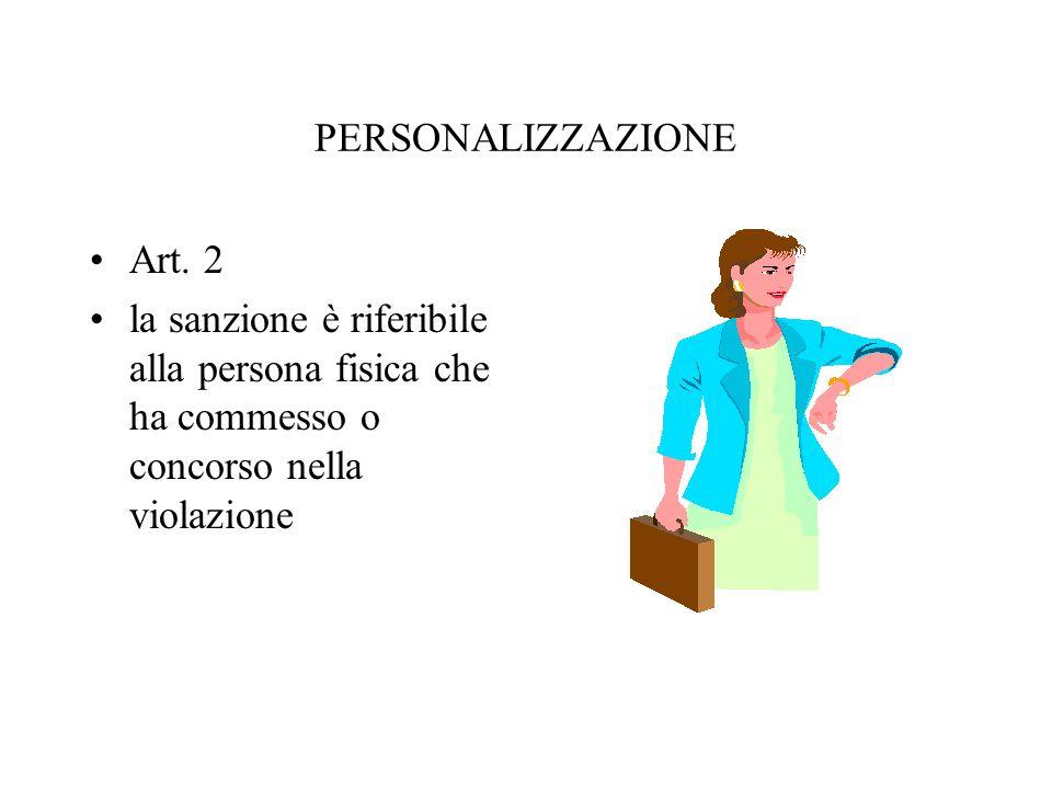 PERSONALIZZAZIONE Art. 2 la sanzione è riferibile alla persona fisica che ha commesso o concorso nella violazione