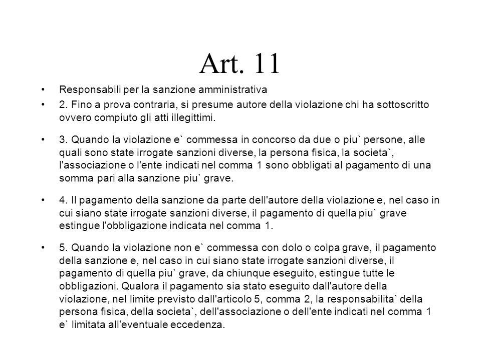 Art. 11 Responsabili per la sanzione amministrativa 2. Fino a prova contraria, si presume autore della violazione chi ha sottoscritto ovvero compiuto