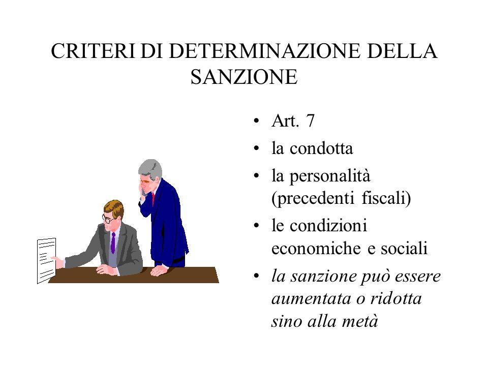 CRITERI DI DETERMINAZIONE DELLA SANZIONE Art. 7 la condotta la personalità (precedenti fiscali) le condizioni economiche e sociali la sanzione può ess