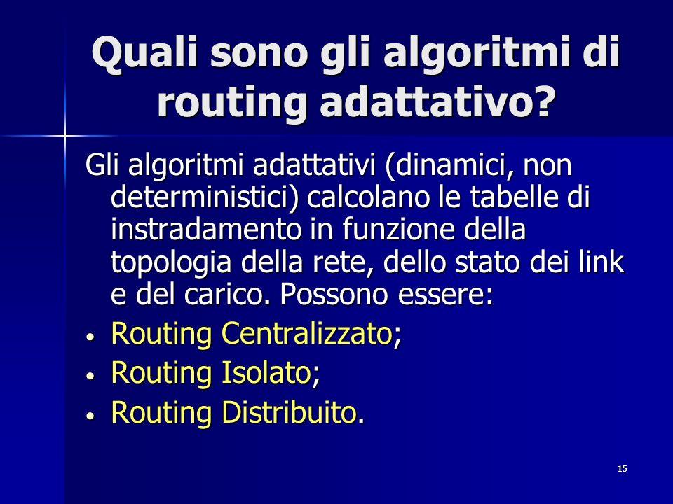 15 Quali sono gli algoritmi di routing adattativo? Gli algoritmi adattativi (dinamici, non deterministici) calcolano le tabelle di instradamento in fu