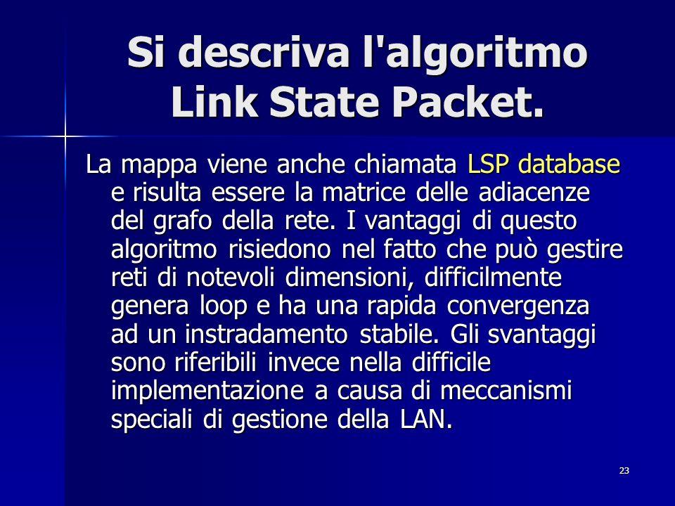 23 Si descriva l'algoritmo Link State Packet. La mappa viene anche chiamata LSP database e risulta essere la matrice delle adiacenze del grafo della r