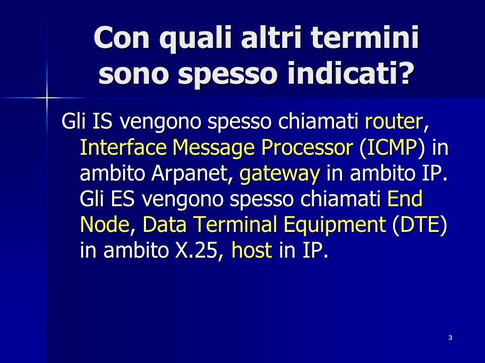 3 Con quali altri termini sono spesso indicati? Gli IS vengono spesso chiamati router, Interface Message Processor (ICMP) in ambito Arpanet, gateway i