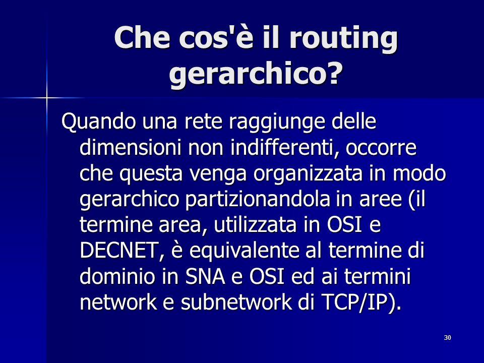 30 Che cos'è il routing gerarchico? Quando una rete raggiunge delle dimensioni non indifferenti, occorre che questa venga organizzata in modo gerarchi