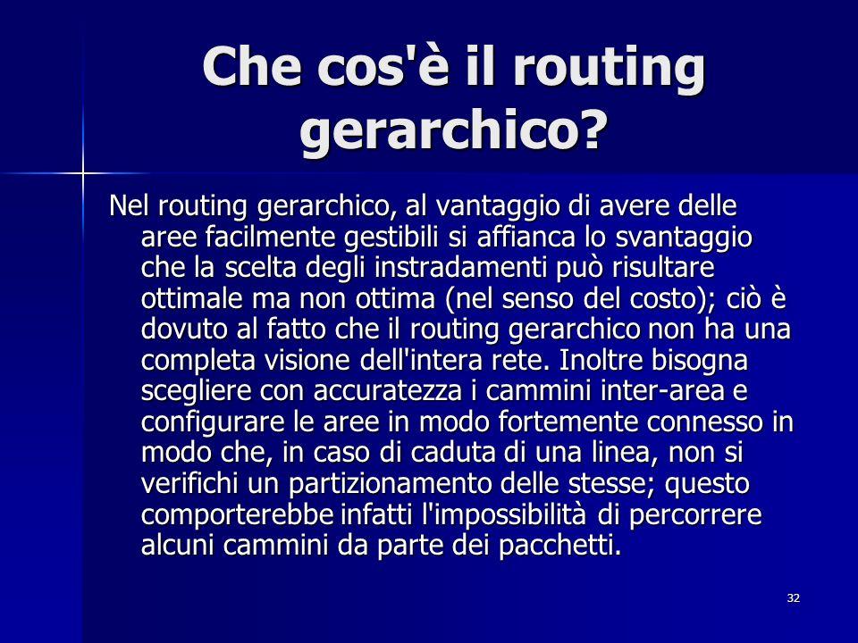 32 Che cos'è il routing gerarchico? Nel routing gerarchico, al vantaggio di avere delle aree facilmente gestibili si affianca lo svantaggio che la sce