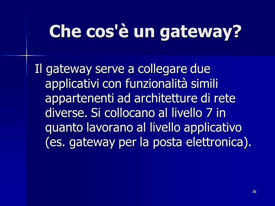 36 Che cos'è un gateway? Il gateway serve a collegare due applicativi con funzionalità simili appartenenti ad architetture di rete diverse. Si colloca
