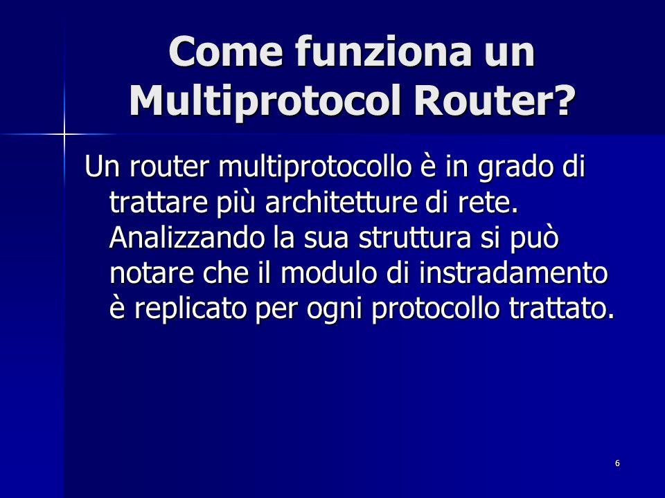 6 Come funziona un Multiprotocol Router? Un router multiprotocollo è in grado di trattare più architetture di rete. Analizzando la sua struttura si pu