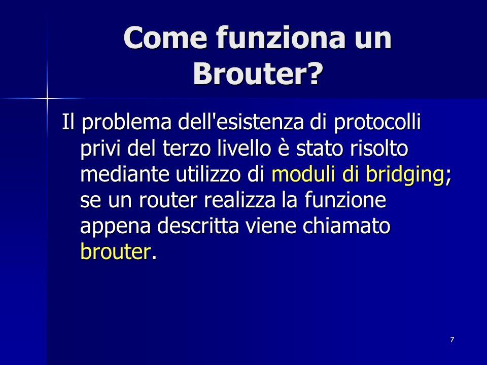7 Come funziona un Brouter? Il problema dell'esistenza di protocolli privi del terzo livello è stato risolto mediante utilizzo di moduli di bridging;