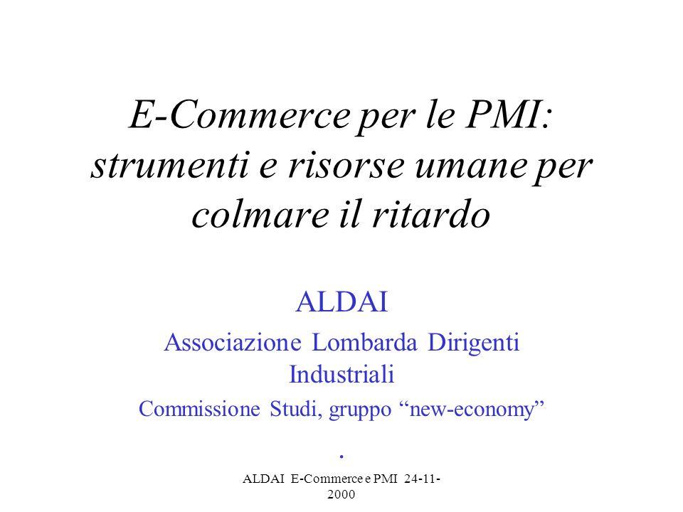 ALDAI E-Commerce e PMI 24-11- 2000 Focalizzazare la figura del Dirigente Sui valori del mercato Sullimprenditorialità/impresa Sullinnovazione Sugli strumenti (organizzazione, Ict)
