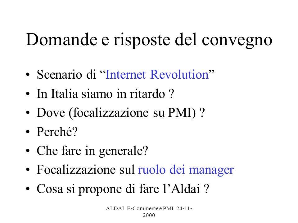 ALDAI E-Commerce e PMI 24-11- 2000 Slide presentata da Cisco PROVOCAZIONE DA INTERNET REVOLUTION NEW ECONOMY OLD ECONOMY INTERNET GENERATION OLD GENERATION ???